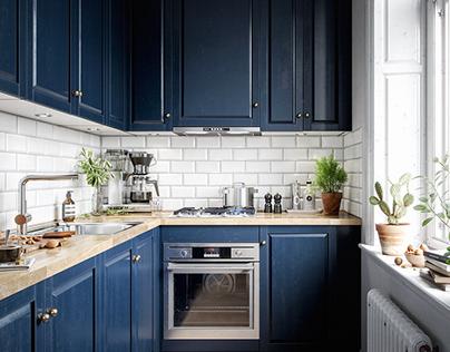 Blue scandi kitchen