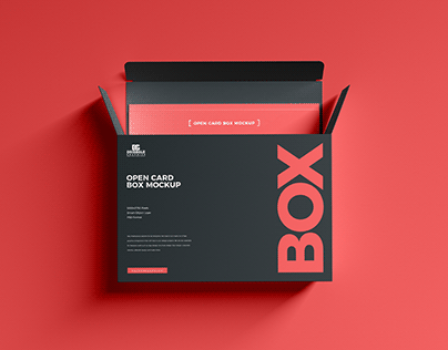 Free Open Card Box Mockup