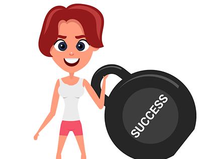 Young Girl Raising Success
