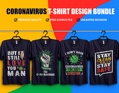 Coronavirus (COVID-19) T-Shirt Design Bundle​​​​​​​