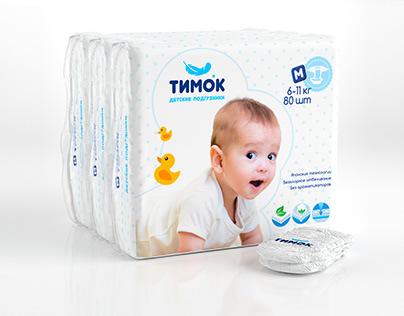 """Дизайн упаковки для подгузников """"ТИМОК"""""""