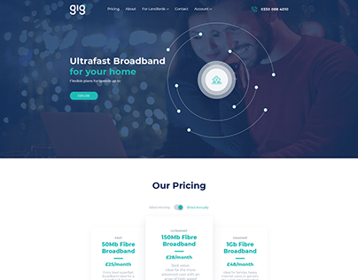 UI/UX for Broadband Internet Provider Webpage