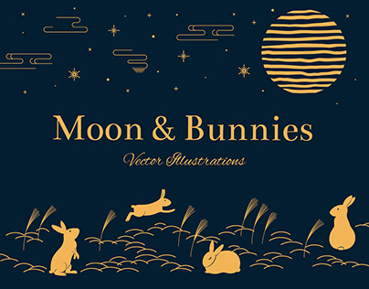 Moon & Bunnies Vector Illustrations