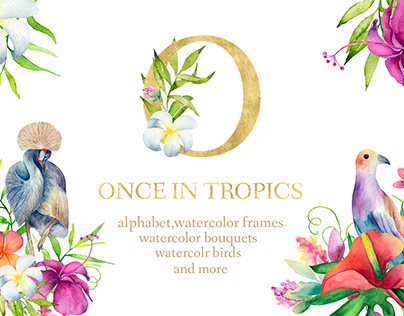 Once in Tropics Watercolor clip art