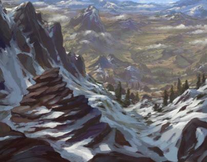 One brush painting