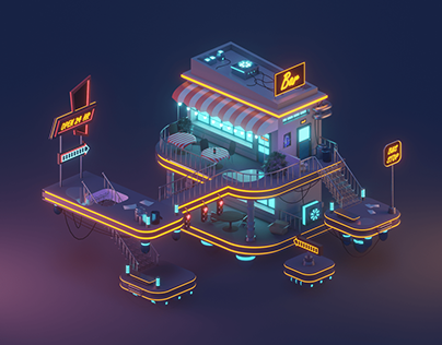 3D neon bar