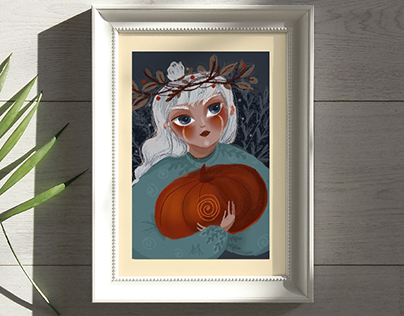 "Illustration ""Girl with pumpkin"""