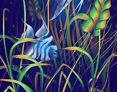 Freshwater aquarium fish canvas mail sticker illustrate