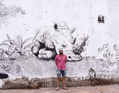 Rhinoceros protection - Wall drawing