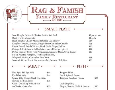 """""""Rag & Famish"""" Menu"""