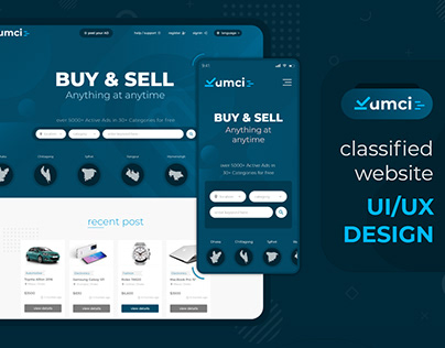 "Landing page UI/UX design for ""KUMCI"" classified"
