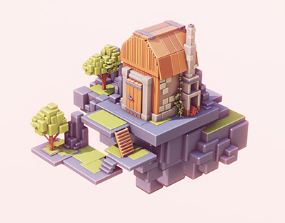 low polycute hut design - low poly environment design