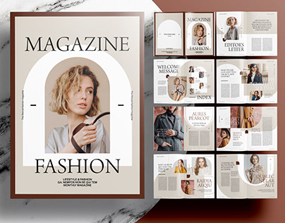InDesign Template - Editorial Brown Magazine Layout