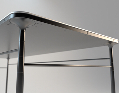 Aluminium and steel table with turned legs