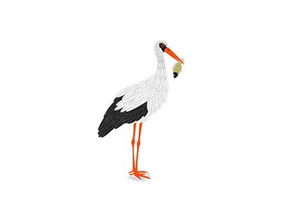 Digitale Zeichnung Storch (eigenes Projekt)