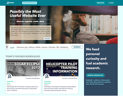 Zorhub - Academic Research Web App Design
