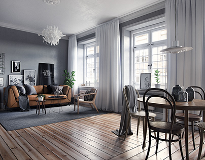 Scandinavian interior in Grey tones