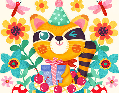Party Animal Birthday Card Illustration and Design