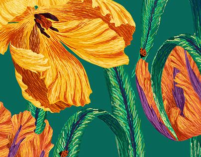 Wild Parrot Tulips Digital Illustration