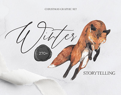 WINTER STORYTELLING watercolor graphic set
