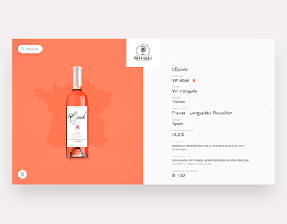 Wine catalog browsing — design & animation concept