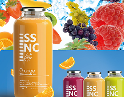 Logotype and packing for Essence - fruit smoothie