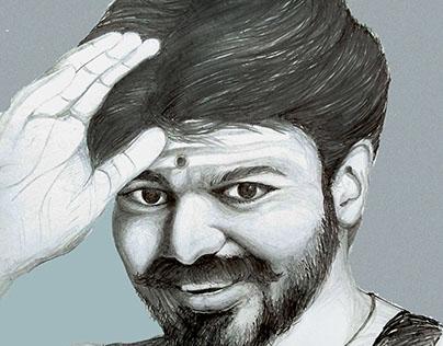 Mersal Vijay In Pencil Drawing