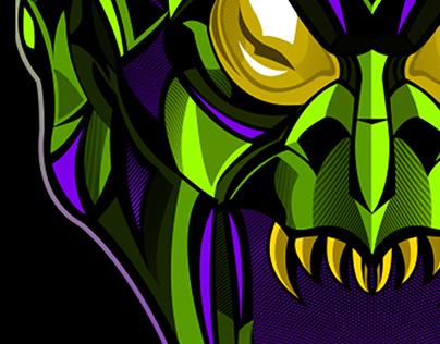 Green Goblin Mask Vector Illustration