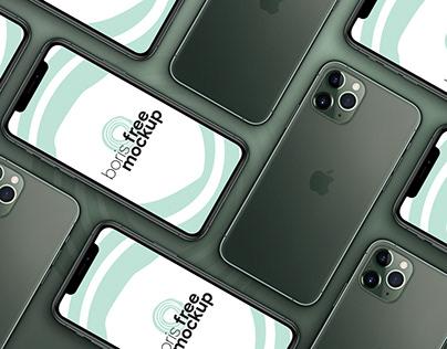 Free PSD flatlay of iPhone 11 Pro Max mockup