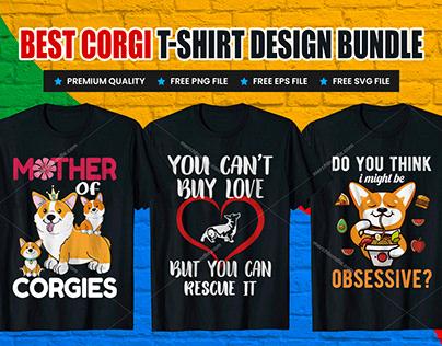 Corgi T-Shirt Design Bundle V.2