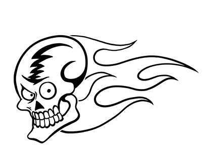 Flaming Skull Window Decal