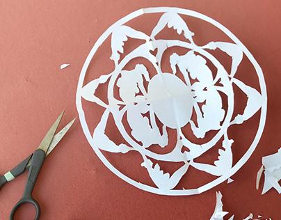 Yoga paper cut art