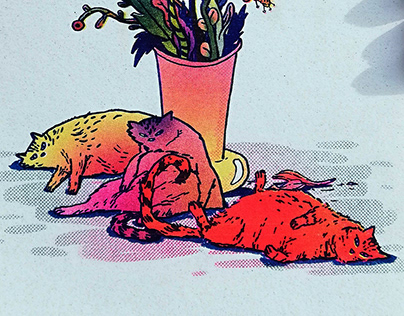 Flowers with lazy cats - Riso print