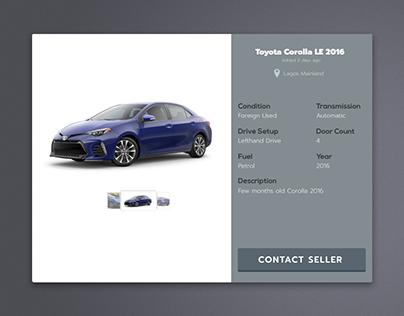 Daily UI Challenge 3: Automobile E-commerce