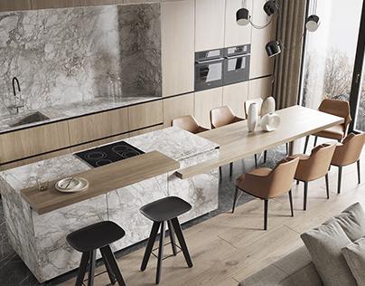 Интерьер кухни-гостиной, холла в ЖК Ligovsky, 165 м²
