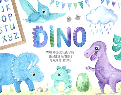 Watercolor Cute Little Dinosaurs Collection