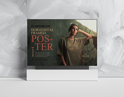 Horizontal Framed Poster Mockup Free
