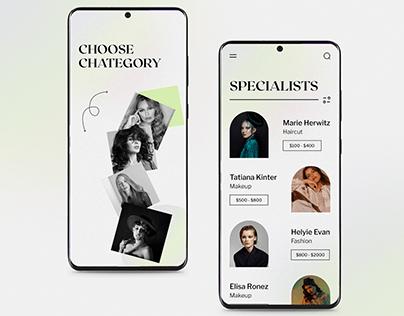 Beauty app UI design