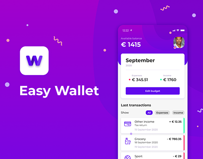 Easy Wallet budget app UI/UX