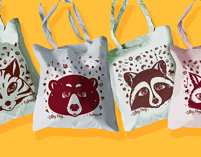 Illustrations for Canvas Bags with Raccoons and Foxes