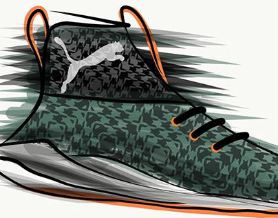 concept PUMA shoes in Adobe Illustrator mobile