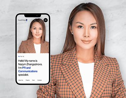 Website for PR-specialist Nazym Zhangazinova