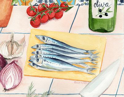 Sardines, Food Illustration