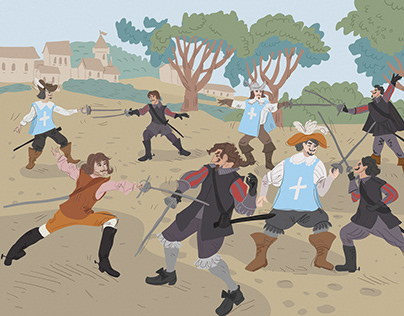 The three musketeers book illustration