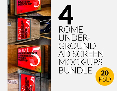 Rome Underground Ad Screen Mock-Ups Bundle