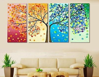 Wall Art Split Panel Tree Painting