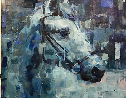 """""""Blue Horse"""" 24""""x24"""" acrylic on canvas"""