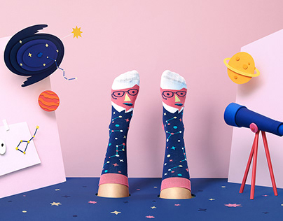 Paper Art Set Design for London Socks Brand