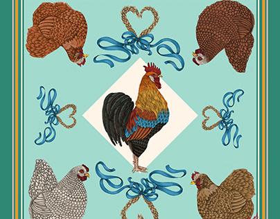 Chicken silk scarf.