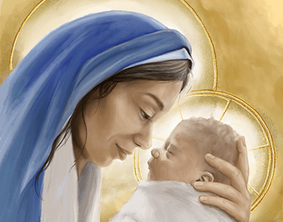 Baby Jesus and Mary - by Teresa McDougal Art